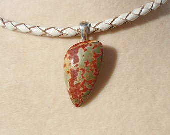Cherry Creek Jasper Pendant with Leather Necklace