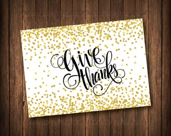 Give Thanks Card - Thanksgiving Card - DIY-Printable File