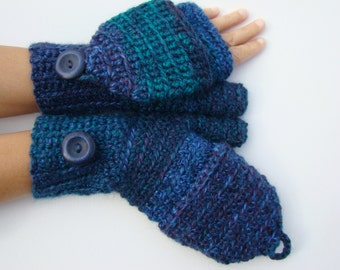 Peacock Blue Mittens, Alpaca Mittens, Convertible Mittens, Fingerless Gloves, Crochet Mittens, Autumn Accessories, Fall Mittens, Fall Gloves