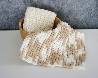Crochet Spa Cloth, Cotton Wash Cloth Set, Crocheted Homegoods, Bathroom Washcloth Set, Eco Friendly Spa Cloth, Bathroom Spa Cloth, Set of 2