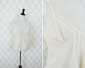 Vintage 1970's Lace Semi Sheer Camisole- cream Cropped Camisole - ladies size medium