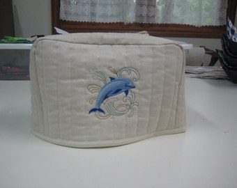 2 slice toaster cover with dolphin embroidery