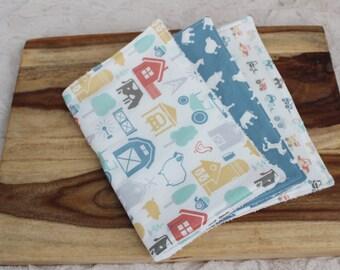Ready to Ship! Burp Cloth - Set of 3 Burp Cloths - Farm Fresh Burp Cloth Set - Burp Cloths for Baby Boys
