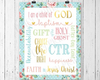 Baptism, lds baptism gift, lds baptism, lds art, baptism center piece, CTR, choose the right, lds baptism printables, mormon art