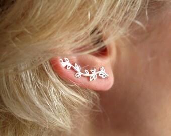 Leaves Ear Cuff Earring - Sterling Silver Branch Ear Cuff - ear climbers. Minimalist Earring. Nature Jewelry. Delicate ear cuff. Minimalist