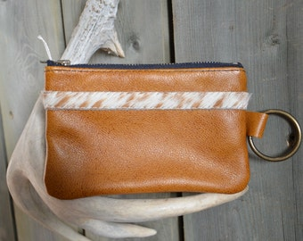 "Caramel Leather ""Finglet"" Purse & Hair On Hide Band - Soft Leather Purse - One Of A Kind - Handmade - Gifts for Her"