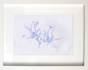 Two Magnolia Flowers in Blue