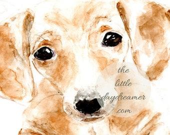 Dachsund, Printable Wall Art, watercolor art, painting, watercolour, Children's Art, Puppy, Digital Clip Art, animal art