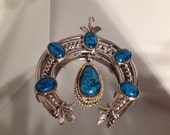 Squash Blossom Imitation Turquoise Pendant Focal Necklace Silver Plate Reserved