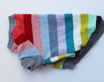 Colourful Striped Dog Sweater Upcycled (S)