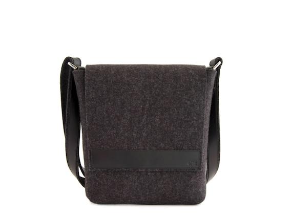 Black mens small MESSENGER BAG / felt and leather messenger bag / mens satchel / messenger bag for men / mens bag / made in Italy