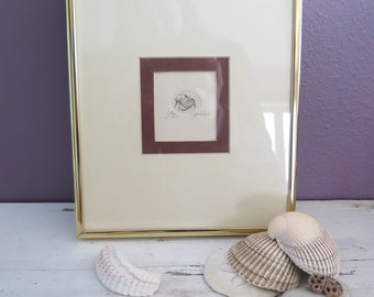 Fish Modern Art Original 1970s Etching Signed Franklin Norwood Framed Matted Ocean Beach Graphic Retro Limited Edition