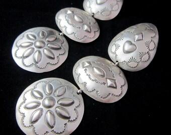 """Navajo~ RITA LEE~HUGE~4""""~Brushed 925 Finish~Hand Stamped~Triple Tier~Earrings"""