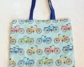 Tote Bag, Cotton Tote Bag, Bicycle Print Tote Bag, Tote Bag Gift, Print Bag, Bicycle Lover Gift