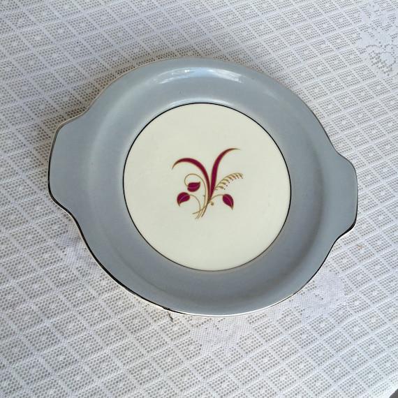 Vintage Cake Plate Harker Pottery Slender Leaf Gray Pattern Platinum Rim