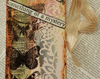 "ART/JOURNAL/INSPIRATION Tag - Collage with Book Text Snippet - ""Something Of a Mystery""  One-of-a-Kind"