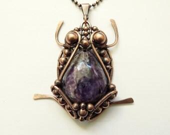 20% OFF, Frog Pendant/Necklace Copper Wire, Natural Charoite, Copper Chain