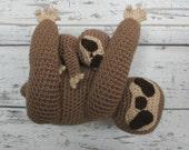 Luna the Sloth and Baby, Crochet Sloth Stuffed Animal, Sloth Amigurumi, Plush Animal, Made to Order