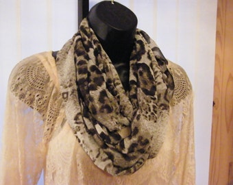 Double or Triple loop Chiffon animal print grey and black Infinity scarf handmade in Victoria, BC, Canada