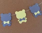 Bear garland, baby shower garland, teddy bear garland, paper garland, yellow and gray bear garland