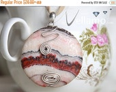 SALE Beautiful large jasper round pendant with sterling silver wire shapes, very modern, 40mm, OOAK