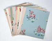 Vintage Wallpaper Sample Collage Pack (12 Sheets, 8 1/2 in. x 10 1/2 in.) - Childrens Vintage Wallpaper Scraps