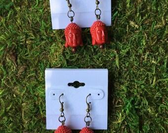 Red Buddha head earrings dangle earrings simple Buddhist earrings handmade jewelry earrings