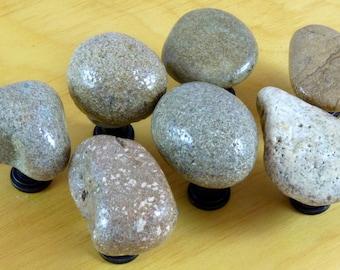 7 Rustic Brown Stone Knobs