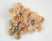 Beige Flower Hair Clips Taupe Natural Nude Flower Hair Clips Rustic Wedding Accessories Bridal Party Wedding Set Of Three for Adults Girls