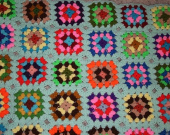 Vintage Crochet Lap Blanket Baby Blanket Lime Green and Colorful 31X41 Afghan