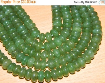 20%off. Nephrite Jade Smooth Roundels- Smooth cut Plain Roundel Beads - Huge Size 8mm.Approx-Free shipping