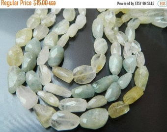 20%off. 8 Inches Long Strand Natural Multi Aquamarine Faceted Nuggets Tumble Size 13-19mm Approx.