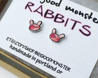 Rabbit Earrings  - Studs -  Shrinky Dink - Shrink Plastic