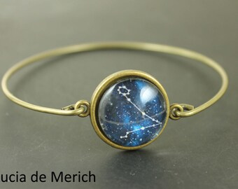 Constellation bracelet - Universe Jewelry -  Bracelet - Space Jewelry, Navy Blue Bracelet