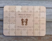25 pieces Rustic Wood Wedding Guest Book Puzzle with Heart Tabs