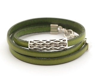 Green Genuine Leather Men's Bracelet, Green Olive Boho Wrap Leather Bracelet, Men's Jewelry, Leather Cuff for Men boho chic
