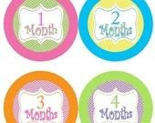 ON SALE Baby Monthly Milestone Growth Stickers Orange Pink Green Blue Chevrons Nursery Theme Baby Shower Gift Baby Photo Prop