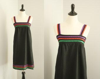 CLEARANCE SALE 1970s dress | vintage 70s black sundress