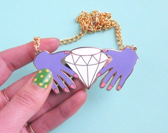 HANDS & DIAMOND NECKLACE - on sale