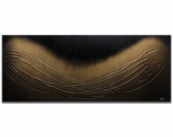 Mendo Vasilevski 'Spinning Gold' - Goldenrod, Gold, & Black Elegant Painting, Modern Abstract Art, Contemporary Urban Decor