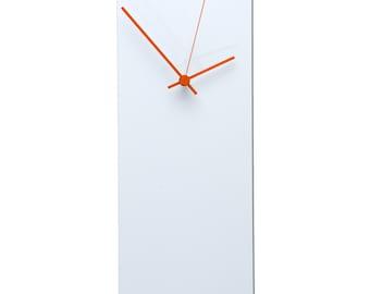 25% OFF! White Clock 'Whiteout Orange Clock' - Unique Wall Clocks - Made in USA, Retro Wall Clock