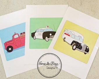 Sew Fun - Beginner Sewing Cards For Kids! Vintage Emergency Vehicles
