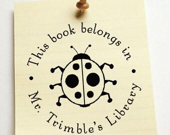 Library stamp,book stamp,SELF INKING custom address stamp,personalized stamp,ladybug,LR06