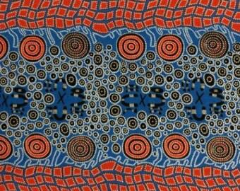 Australian Indigenous Fabric: Fire Dreaming in Blue