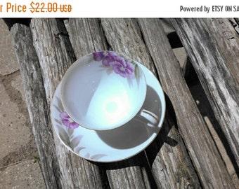 BOSS is AWAY SALE Vintage Purple Violets Teacup