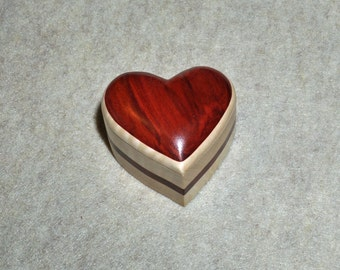 Unique Ring Box Exotic Redheart, Curly Maple, with Crushed Velvet insert.  Jewelry not included.