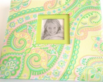 """Complete Scrapbook. 8.5"""" x 8.5"""" Paisley Window Album and 20 pre-made pages. Colorful K&Company Paisley Marcella Girl Teen Complete Scrapbook"""