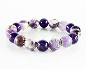 Gemstone Bracelet, Amethyst bracelet, stretchable, silver accents, semi-precious, natural stones, statement, stackable, gift for her, 3224