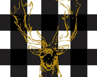 Gold Reindeer Print - Black + White Buffalo Check - Digital Download