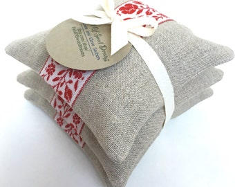 Balsam and Clove Sachets Made from Natural Linen Fresh Forest Pine